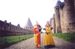 troubadours - couple de sonneurs médiévaux à Carcassonne